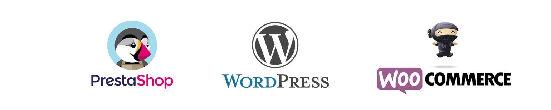 Logo cms wordpress prestashop woocommerce